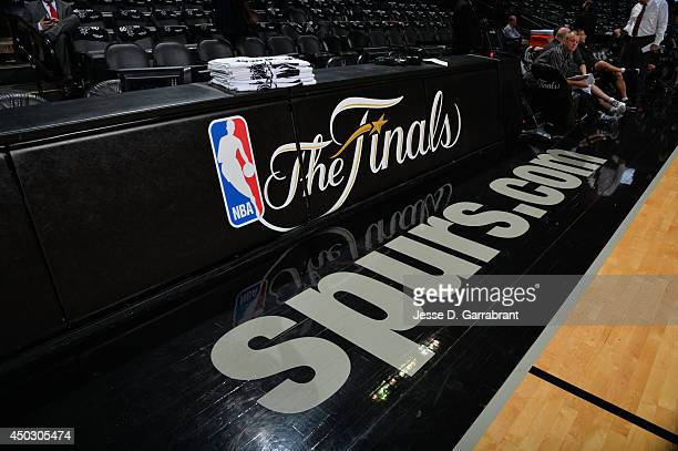 Here is a photograph of the spurscom logo of the San Antonio Spurs against the Miami Heat during Game Two of the 2014 NBA Finals on June 8 2014 at...