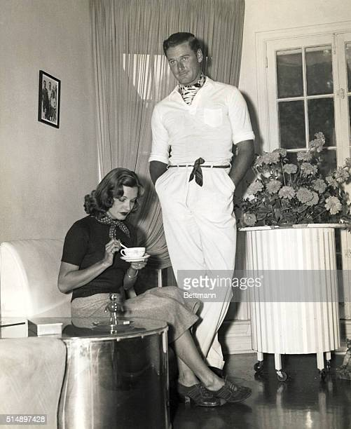Here is a picture of Lili Damita and Errol Flynn in a very happy domestic environmentbefore they got their divorce and are living apart