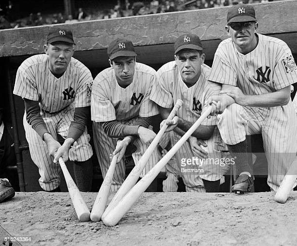 Here is a quartet of New York Yankees calculated to give any pitcher nightmares. Each member of the quartet bats .300 and all are ready to cut fresh...