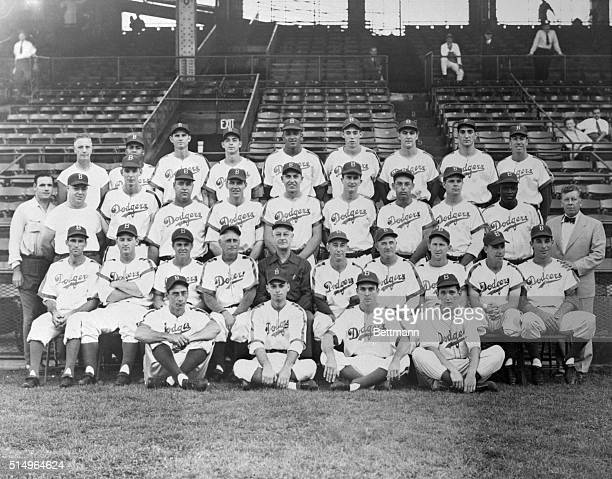 Here is a team photo of the Brooklyn dodgers which came from behind to wrest the National League from the cocky St Louis Cardinals yesterday Top row...