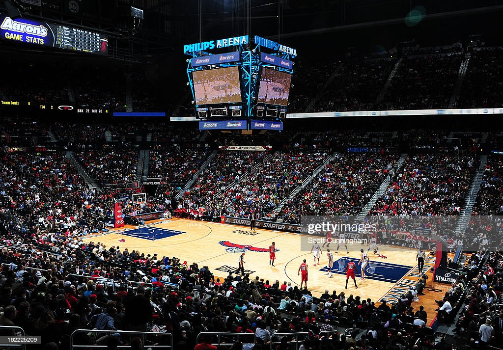 Here is a wideangle shot of the Atlanta Hawks arena against the Miami Heat on February 20, 2013 at Philips Arena in Atlanta, Georgia.