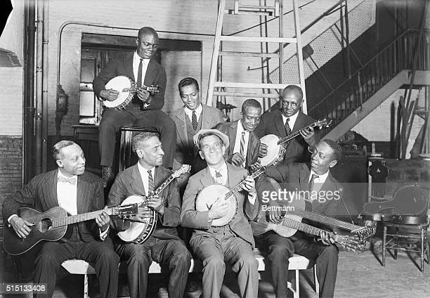 Here is Al Jolson famous blackface comedian rehearsing close harmony with two members of his minstrel band Jolson was compelled to quit the stage...