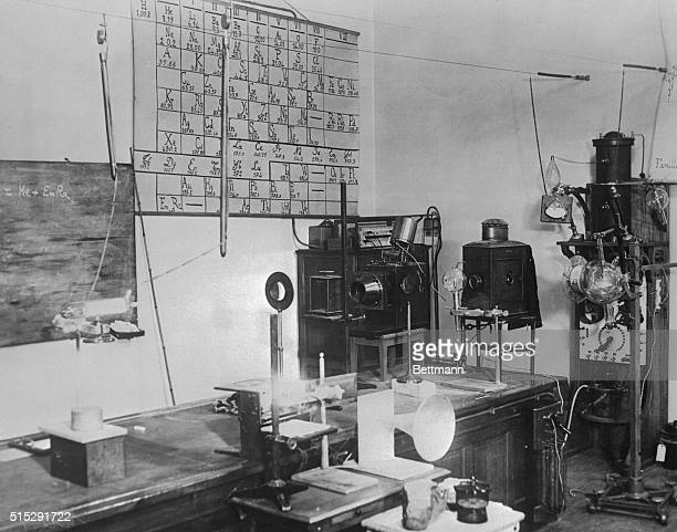 Here is an exclusive showing the interior of Madame Curie's laboratory in the Radium Institute of the University of Paris where the famous scientist...