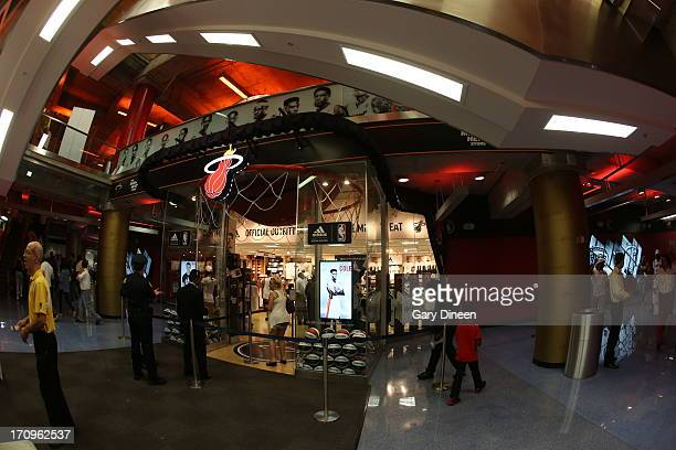 Here is an external photograph of the NBA Miami Heat team store prior to the game against the San Antonio Spurs in Game Seven of the 2013 NBA Finals...