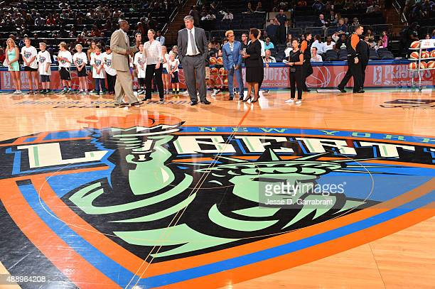 Here is an image of the New York Liberty logo prior to the game against the Washington Mystics during game One of the WNBA Semi-Finals at Madison...