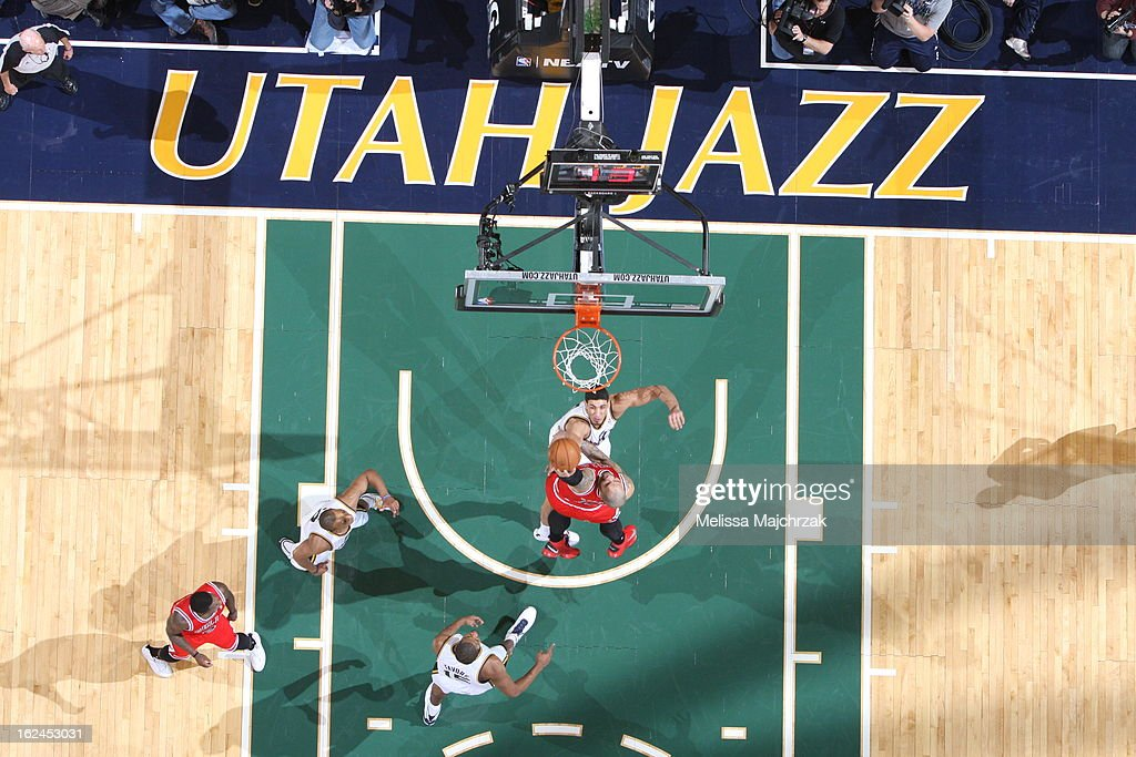 Here is an overhead view of the Utah Jazz against the Chicago Bulls at Energy Solutions Arena on February 08, 2013 in Salt Lake City, Utah.