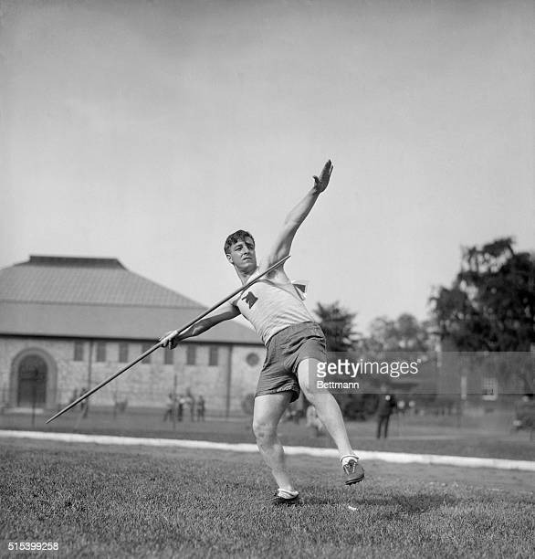 Here is Arthur W. Sager of the Boston Athletic Association, who won the qualifying trial in the javelin throw event at the Olympic tryouts in the...