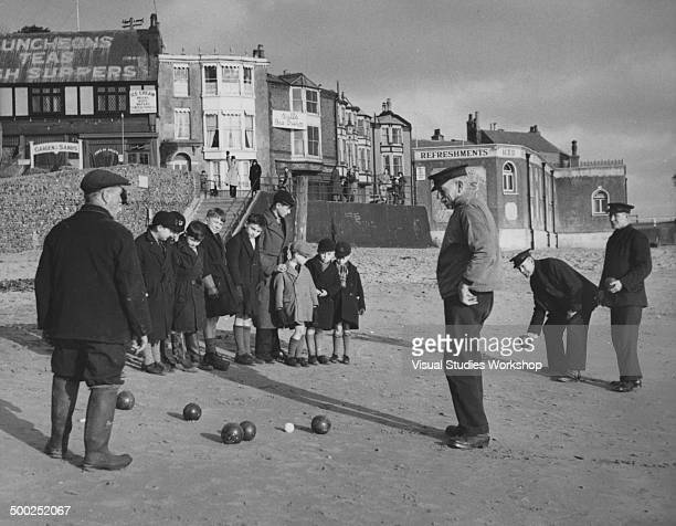 Here is one example of how the local fishermen spend their winter months using the seashore as a bowling green Broadstairs England early to mid 20th...