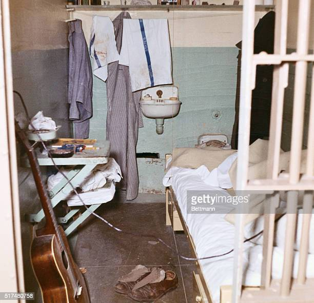 Here is one of the cells in Cell Block B in Alcatraz Prison in San Francisco Bay from which three prisoners escaped 6/12 Photo shows view of interior...