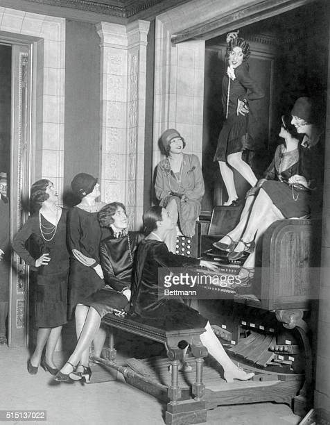Here is shown a bit of jazz on the solemn organ in the music room of the $7000 home of the late Senator William A Clark on Fifth Avenue which is soon...