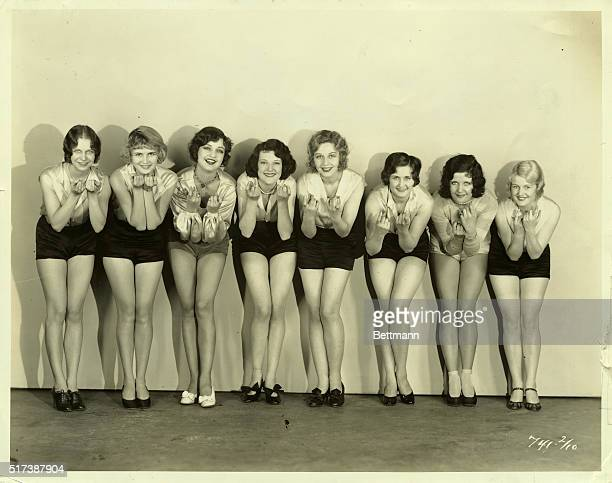 Here is the gang of 'Eight Whoopee Girls' chosen by Paramount to follow Clara Bow's lead in her first alltalking picture 'The Wild Party' LR Virginia...