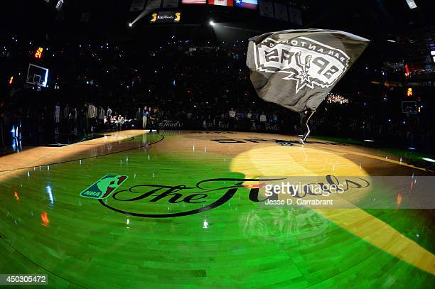 Here is the NBA Finals logo where the San Antonio Spurs took on the Miami Heat during Game Two of the 2014 NBA Finals on June 8 2014 at ATT Center in...