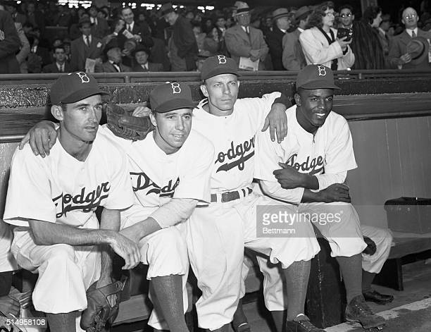 Here is the new infield of the Brooklyn Dodgers as they prepared to face the Boston Braves in the opening game of the 1947 season at Ebbets Field...