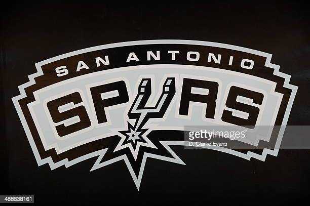 Here is the San Antonio Spurs logo prior to the game against the Portland Trail Blazers during Game Two of the Western Conference Semifinals at ATT...