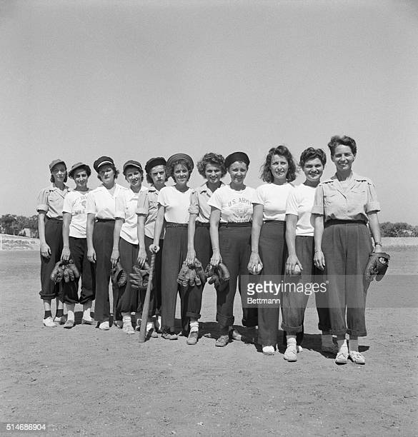 9/20/1943 Here is the softball team of one of the General Hospitals left to right Lt Lydia Duewell Lt Eleanor Kelly Lt Helen Maag Lt Ann Kelly Lt...