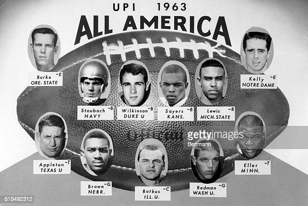 Here is the UPI AllAmerican football team as chosen by 305 writers and broadcasters Backs are Roger Staubach of the naval Academy Jay Wilkenson of...