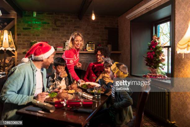 here is your christmas dinner - christmas stock pictures, royalty-free photos & images