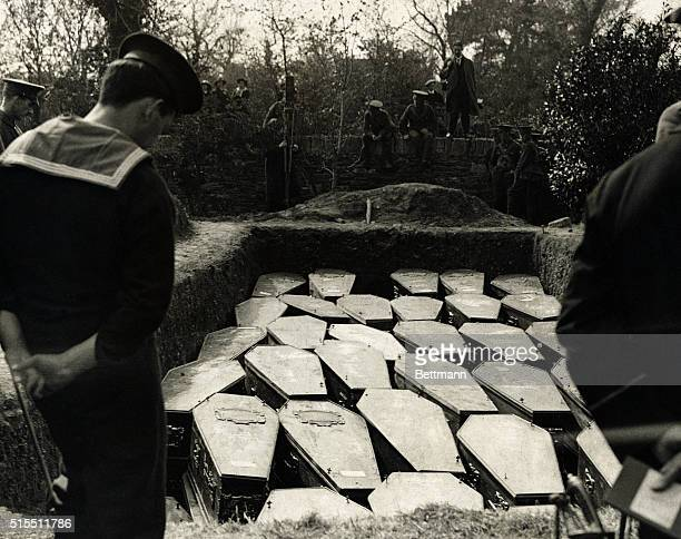 Here the Lusitania victims are laid to rest In one grave there are sixtysix coffins
