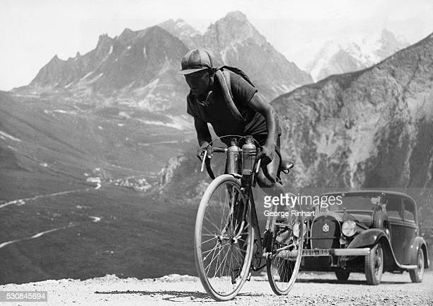Here the Spanish bicycle racer Truerbach is climbing an Alpine road during the Tour de France