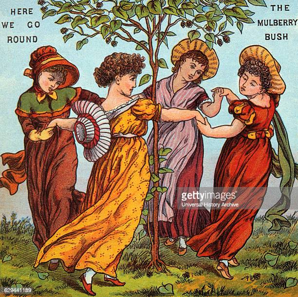 Here we Go Round The Mulberry Bush Mother Goose Rhymes Illustration by Walter Crane circa 1877