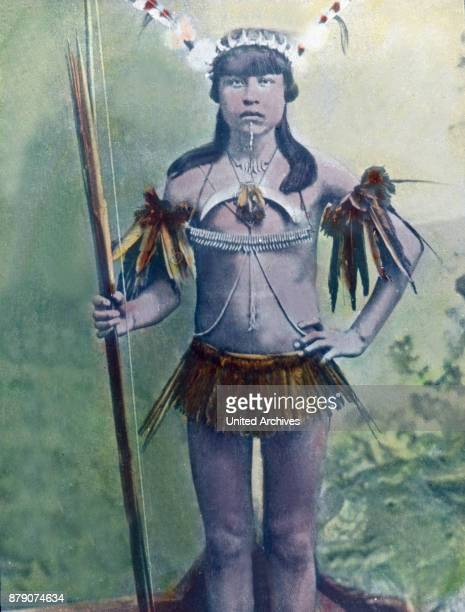 Here we have the chief of the Boroo Indians in war paint We see weapons bows and arrows his favorite jewelry bird feathers and a distinctive mark the...