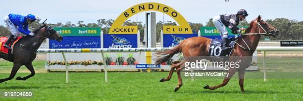 Herecomesmybaby ridden by Jessica Payne wins the Bishop Joe Grech Memorial Maiden Plate at Bendigo Racecourse on February 17 2018 in Bendigo Australia