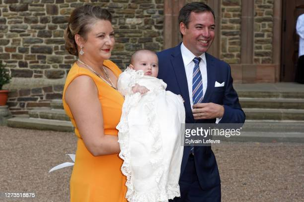 Hereditary Grand Duchess Stephanie of Luxembourg and Hereditary Grand Duke Guillaume of Luxembourg with their son Prince Charles of Luxembourg arrive...