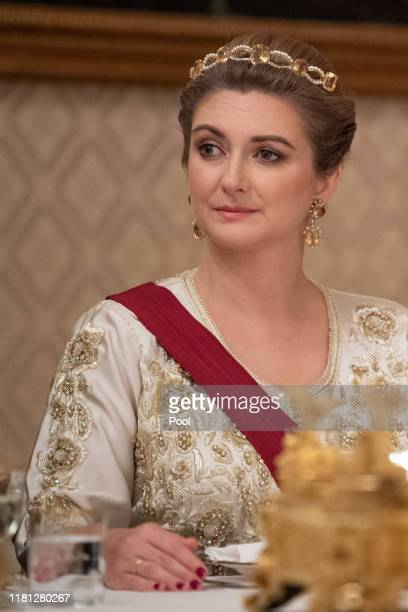 Hereditary Grand Duchess Stephanie of Luxembourg attends the State Banquet on the first day of the State Visit to Luxembourg on October 15, 2019 in...