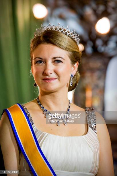 Hereditary Grand Duchess Stephanie of Luxembourg during the official picture at the state banquet in the Grand Ducal Palace on May 23 2018 in...