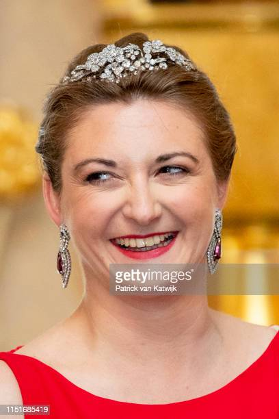 Hereditary Grand Duchess Stephanie of Luxembourg during the reception at the Grand Ducal Palace on the National Day on June 23, 2019 in Luxembourg,...