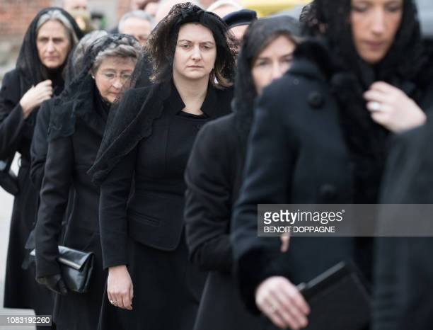 Hereditary Grand Duchess Stephanie of Luxembourg pictured during the funeral service for Count Philippe de Lannoy at FrasnesLezAnvaing Wednesday 16...
