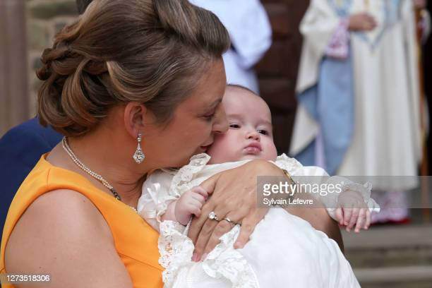 Hereditary Grand Duchess Stephanie of Luxembourg with her son Prince Charles of Luxembourg arrive for Prince Charles' baptism at l'Abbaye St Maurice...