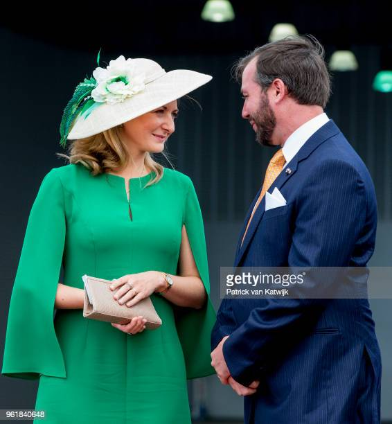 Hereditary Grand Duke Guillaume and Hereditary Grand Duchess Stephanie at the airport of Luxembourg on May 23 2018 in Luxembourg Luxembourg The Dutch...