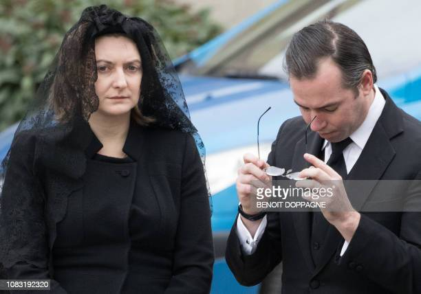 Hereditary Grand Duke Guillaume and Hereditary Grand Duchess Stephanie of Luxembourg pictured during the funeral service for Count Philippe de Lannoy...
