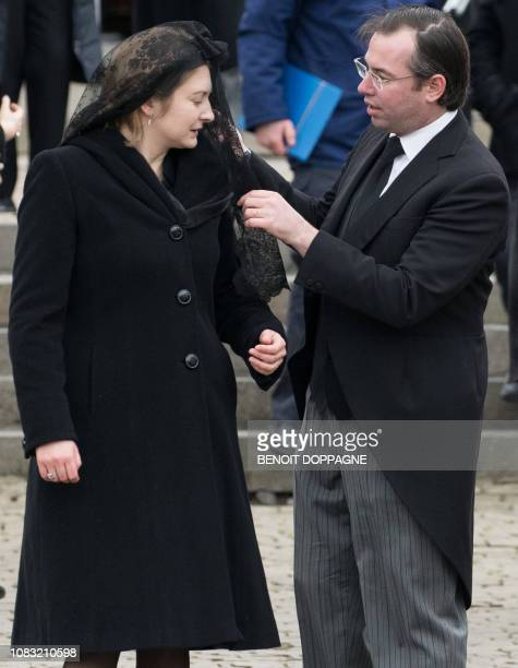 Hereditary Grand Duke Guillaume and Hereditary Grand Duchess Stephanie of Luxembourg pictured after the funeral service for Count Philippe de Lannoy...