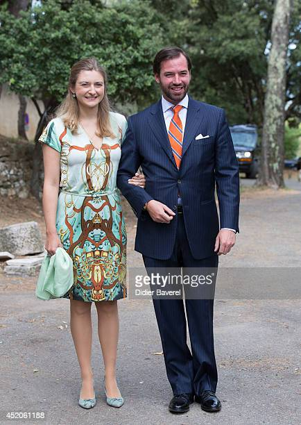 Hereditary Grand Duke Guillaume and Hereditary Grand Duchess Stephanie of Luxembourg arrive for the baptism ceremony of Princess Amalia at the Saint...
