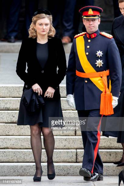 Hereditary Grand Duke Guillaume of Luxembourg and Hereditary Grand Duchess Stephanie of Luxembourg attend the funeral of Grand Duke Jean of...