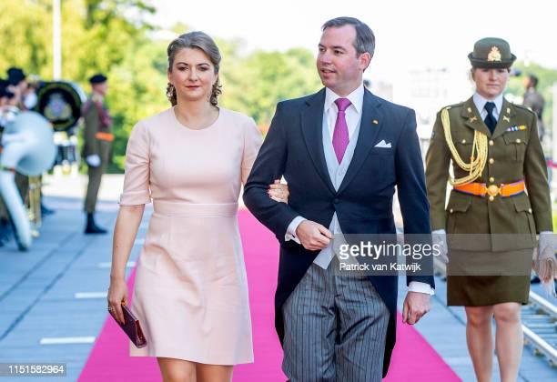 Hereditary Grand Duke Guillaume of Luxembourg and Hereditary Grand Duchess Stephanie of Luxembourg arrive at the Philiarmonie for the concert on the...