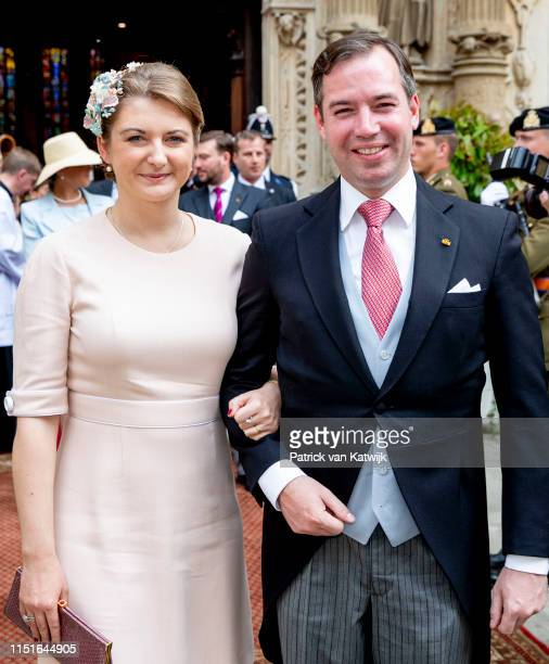 Hereditary Grand Duke Guillaume of Luxembourg and Hereditary Grand Duchess Stephanie of Luxembourg attend the Te Deum thanksgiving mass in the...
