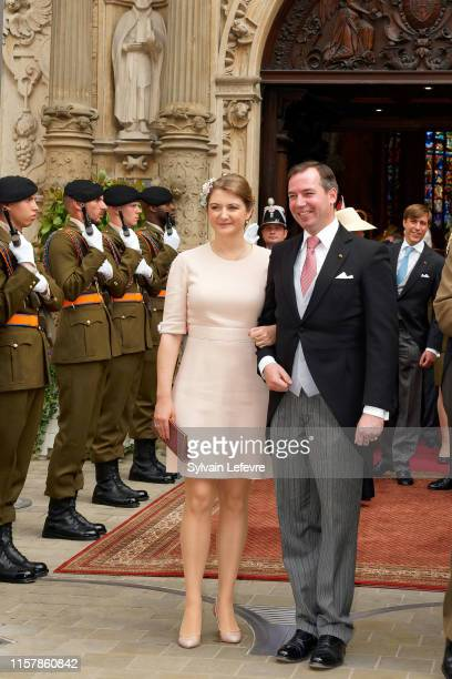 Hereditary Grand Duke Guillaume of Luxembourg and Hereditary Grand Duchess Stephanie of Luxembourg leave after attending the Te Deum thanksgiving...