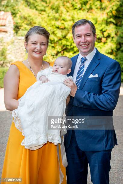 Hereditary Grand Duke Guillaume of Luxembourg and Hereditary Grand Duchess Stephanie of Luxembourg with their son Prince Charles of Luxembourg at the...
