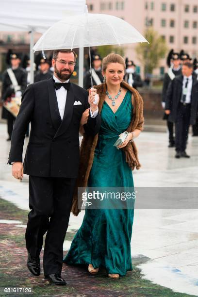 Hereditary Grand Duke Guillaume of Luxembourg and Princess Stéphanie Hereditary Grand Duchess of Luxembourg arrive for a gala dinner at the...