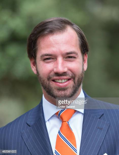 Hereditary Grand Duke Guillaume poses after the baptism ceremony of Princess Amalia at the Saint Ferreol Chapel in Lorgues on July 12 2014 in Lorgues...