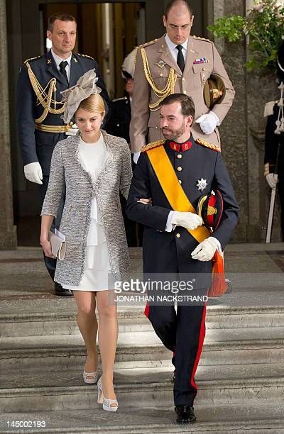 Hereditary Grand Duke of Luxembourg Guillaume and Countess Stephanie de Lannoy leave the Royal Chapel on May 22 2012 after the christening of...