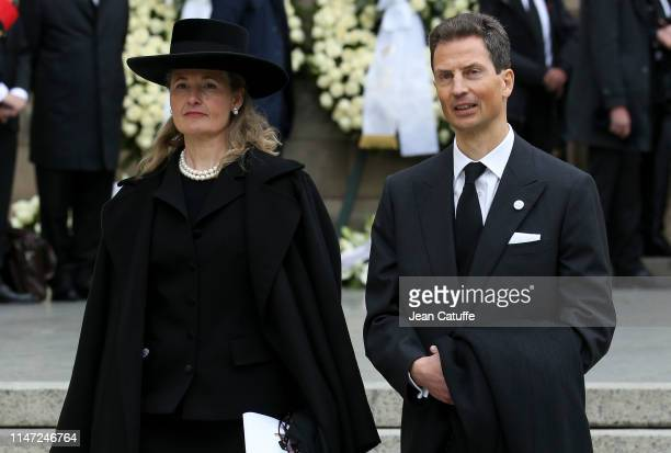 Hereditary Prince Alois of Liechtenstein and his wife Hereditary Princess Sophie of Liechtenstein leave the funerals of Grand Duke Jean of Luxembourg...
