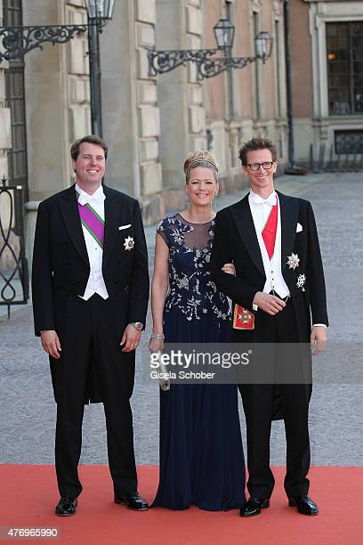 Hereditary Prince Hubertus of SaxeCoburg and Gotha Princess Anna of Bavaria and Prince Manuel of Bavaria attend the royal wedding of Prince Carl...