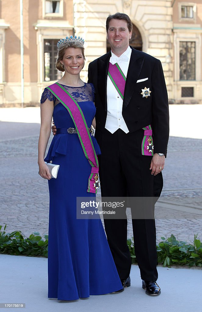Hereditary Princess Kelly of Saxe-Coburg and Gotha and Hereditary Prince Hubertus of Saxe-Coburg and Gotha attend the wedding of Princess Madeleine of Sweden and Christopher O'Neill hosted by King Carl Gustaf XIV and Queen Silvia at The Royal Palace on June 8, 2013 in Stockholm, Sweden.