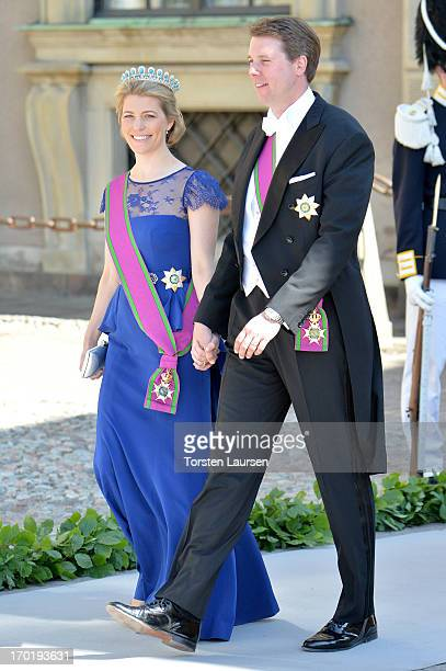 Hereditary Princess Kelly of SaxeCoburg and Gotha Hereditary Prince Hubertus of SaxeCoburg and Gotha attend the wedding ceremony of Princess...