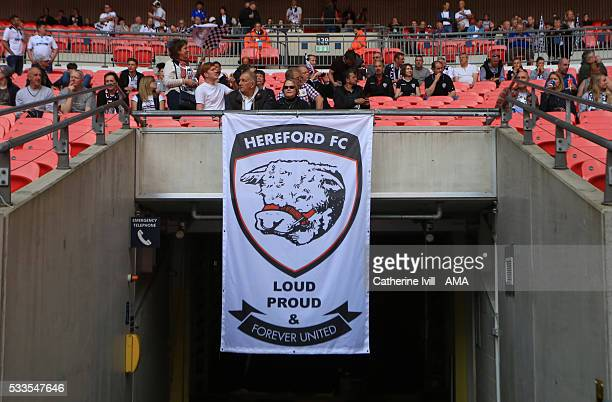Hereford banner during The FA Vase Final match between Hereford FC and Morpeth Town at Wembley Stadium on May 22 2016 in London England