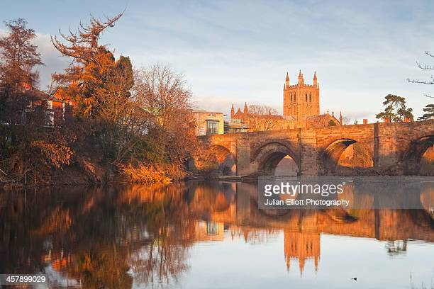 Hereford cathedral and the 12th century Wye Bridge